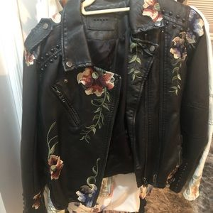 Blank NYC embroidered moto jacket